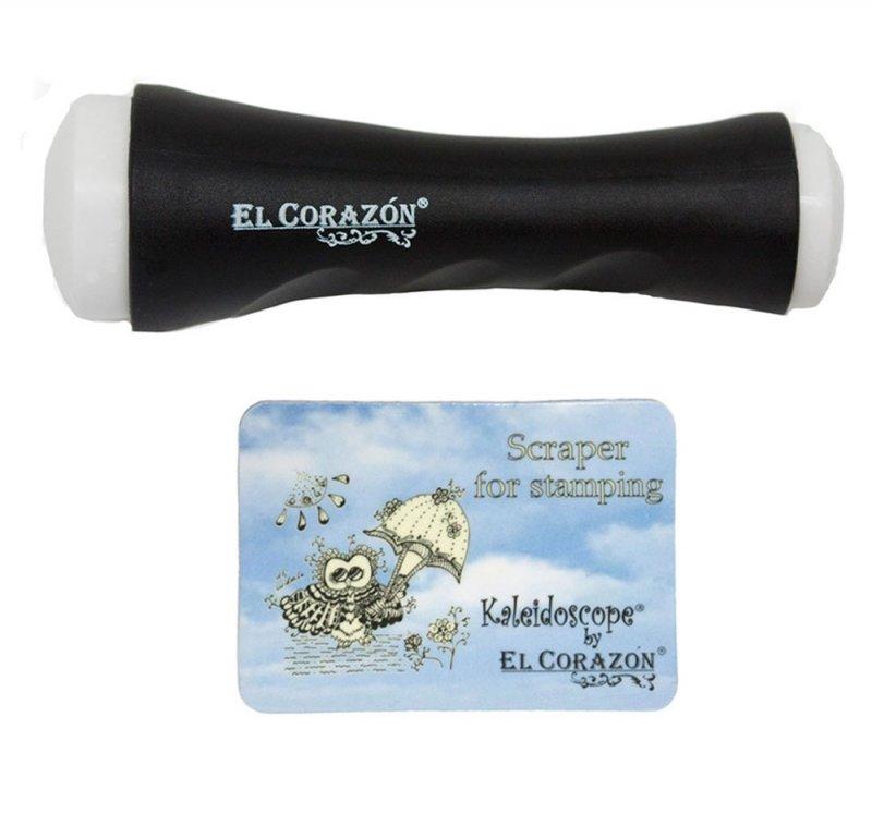 El Corazon, Двусторонний штамп XL и скрапер (черный)Инструменты и Аксессуары El Corazon<br>Двусторонний штамп XL + скрапер<br>