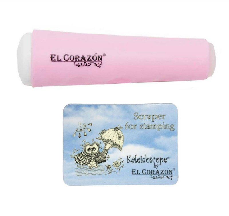 El Corazon, Двусторонний штамп и скрапер (розовый)Инструменты и Аксессуары El Corazon<br>Двусторонний штамп+ скрапер<br>