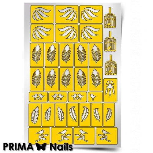 PrimaNails, Трафарет для дизайна ногтей - ПерышкиPrimaNails<br>Самоклеющиеся трафареты<br>