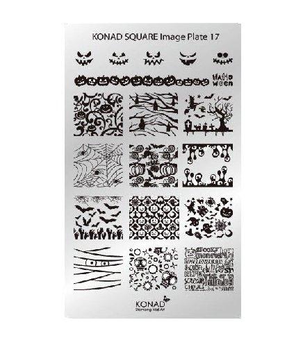 Konad, диск для стемпинга Square Image Plate 17Диски для стемпинга Konad<br>19 Изображений по тематике хэллоуин, с помощью которых вы сможете создать великолепные рисунки на ногтях, которые очень сложно создать вручную.<br>