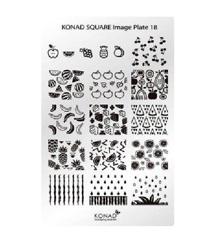 Konad, диск для стемпинга Square Image Plate 18Диски для стемпинга Konad<br>18 Изображений по тематике фрукты, с помощью которых вы сможете создать великолепные рисунки на ногтях, которые очень сложно создать вручную.<br>