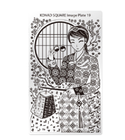Konad, диск для стемпинга Square Image Plate 19Диски для стемпинга Konad<br>Изображение по мотивам гейши, с помощью которых вы сможете создать великолепные рисунки на ногтях, которые очень сложно создать вручную.<br>