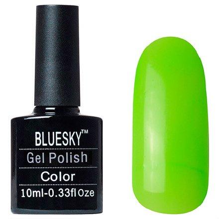 Bluesky Шеллак Neon 01Bluesky 10 мл<br>Гель-лак кислотно-зеленый, без блесток и перламутра, полупрозрачный, неоновый.<br>