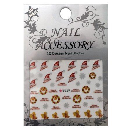 Nail Accessory, 3D Стикер J&amp;Z (New Year) - E025Наклейки для дизайна ногтей<br>Самоклеящиеся наклейки для дизайна ногтей.<br>