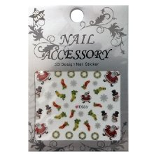 Nail Accessory, 3D Стикер J&Z (New Year) - E033
