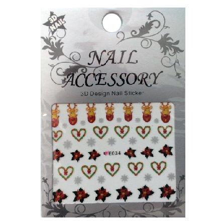 Nail Accessory, 3D Стикер J&amp;Z (New Year) - E034Наклейки для дизайна ногтей<br>Самоклеящиеся наклейки для дизайна ногтей.<br>