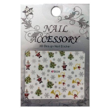 Nail Accessory, 3D Стикер J&amp;Z (New Year) - E036Наклейки для дизайна ногтей<br>Самоклеящиеся наклейки для дизайна ногтей.<br>