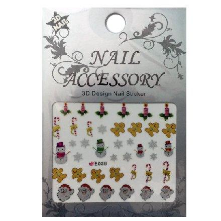 Nail Accessory, 3D Стикер J&amp;Z (New Year) - E039Наклейки для дизайна ногтей<br>Самоклеящиеся наклейки для дизайна ногтей.<br>