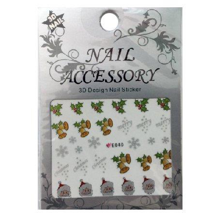 Nail Accessory, 3D Стикер J&amp;Z (New Year) - E040Наклейки для дизайна ногтей<br>Самоклеящиеся наклейки для дизайна ногтей.<br>