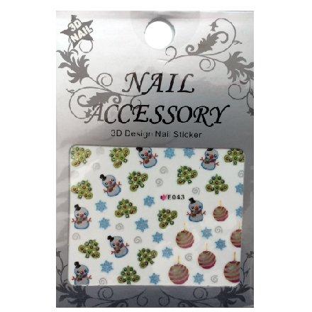 Nail Accessory, 3D Стикер J&amp;Z (New Year) - E043Наклейки для дизайна ногтей<br>Самоклеящиеся наклейки для дизайна ногтей.<br>