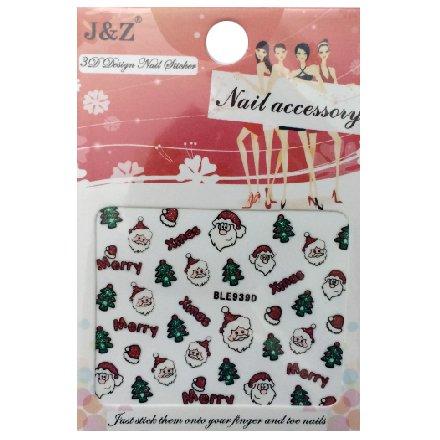 Nail Accessory, 3D Стикер J&amp;Z (New Year) - BLE939DНаклейки для дизайна ногтей<br>Самоклеящиеся наклейки для дизайна ногтей.<br>