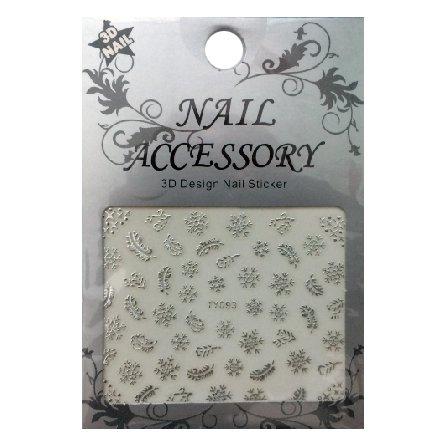 Nail Accessory, 3D Стикер J&amp;Z (Снежинки) - TY093 (серебро)Наклейки для дизайна ногтей<br>Самоклеящиеся наклейки для дизайна ногтей.<br>