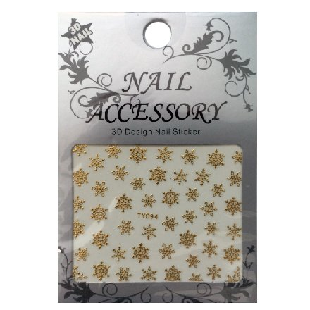 Nail Accessory, 3D Стикер J&amp;Z (Снежинки) - TY094 (золото)Наклейки для дизайна ногтей<br>Самоклеящиеся наклейки для дизайна ногтей.<br>