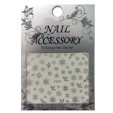 Nail Accessory, 3D Стикер J&amp;Z (Снежинки) - TY096 (серебро)Наклейки для дизайна ногтей<br>Самоклеящиеся наклейки для дизайна ногтей.<br>