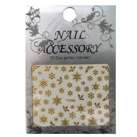 Nail Accessory, 3D Стикер J&amp;Z (Снежинки) - TY096 (золото)Наклейки для дизайна ногтей<br>Самоклеящиеся наклейки для дизайна ногтей.<br>