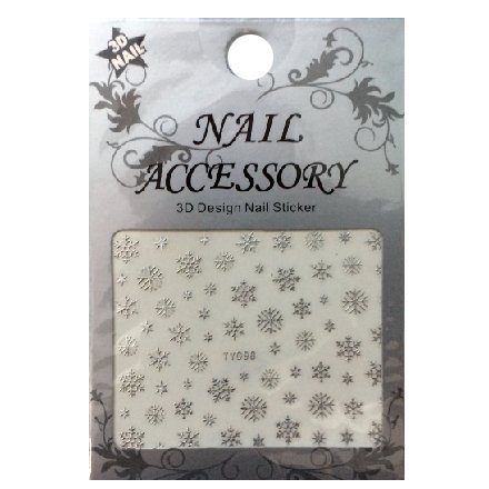 Nail Accessory, 3D Стикер J&amp;Z (Снежинки) - TY098 (серебро)Наклейки для дизайна ногтей<br>Самоклеящиеся наклейки для дизайна ногтей.<br>