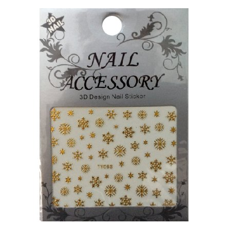 Nail Accessory, 3D Стикер J&amp;Z (Снежинки) - TY098 (золото)Наклейки для дизайна ногтей<br>Самоклеящиеся наклейки для дизайна ногтей.<br>