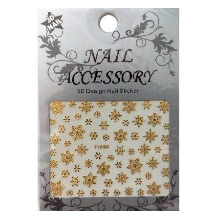 Nail Accessory, 3D Стикер J&amp;Z (Снежинки) - TY099 (золото)Наклейки для дизайна ногтей<br>Самоклеящиеся наклейки для дизайна ногтей.<br>