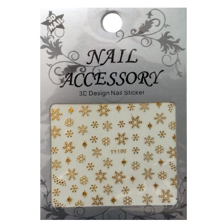 Nail Accessory, 3D Стикер J&amp;Z (Снежинки) - TY100 (золото)Наклейки для дизайна ногтей<br>Самоклеящиеся наклейки для дизайна ногтей.<br>