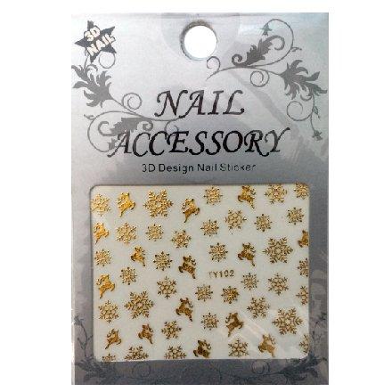 Nail Accessory, 3D Стикер J&amp;Z (Снежинки) - TY102 (золото)Наклейки для дизайна ногтей<br>Самоклеящиеся наклейки для дизайна ногтей.<br>