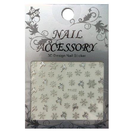 Nail Accessory, 3D Стикер J&amp;Z (Снежинки) - TY102 (серебро)Наклейки для дизайна ногтей<br>Самоклеящиеся наклейки для дизайна ногтей.<br>