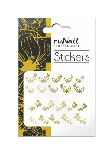 ruNail, Наклейки для дизайна ногтей (золотые) № 1453Наклейки для дизайна ногтей<br>Самоклеящиеся наклейки для дизайна.<br>