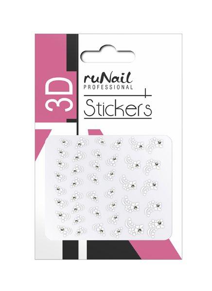 ruNail, 3D Наклейки для дизайна ногтей № 1458Наклейки для дизайна ногтей<br>Самоклеящиеся наклейки для дизайна ногтей. Белые цветы.<br>