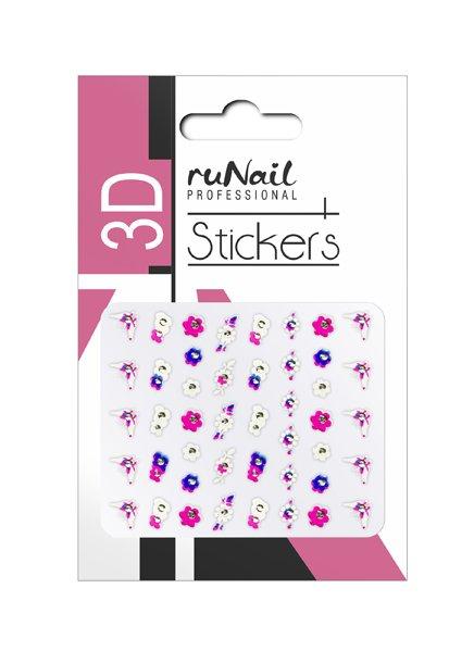 ruNail, 3D Наклейки для дизайна ногтей № 1462Наклейки для дизайна ногтей<br>Самоклеящиеся наклейки для дизайна ногтей. Бабочки цветы.<br>