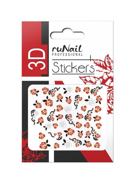 ruNail, 3D Наклейки для дизайна ногтей № 1463Наклейки для дизайна ногтей<br>Самоклеящиеся наклейки для дизайна ногтей. Розы.<br>