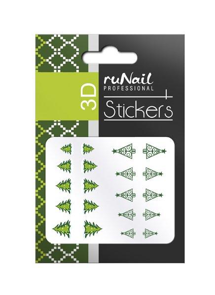 ruNail, 3D Наклейки для дизайна ногтей № 1465Наклейки для дизайна ногтей<br>Самоклеящиеся новогодние наклейки для дизайна ногтей. Елки.<br>