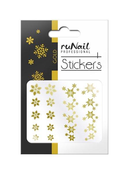 ruNail, 3D Наклейки для дизайна ногтей № 1468Наклейки для дизайна ногтей<br>Самоклеящиеся новогодние наклейки для дизайна ногтей. Снежинки золотые.<br>
