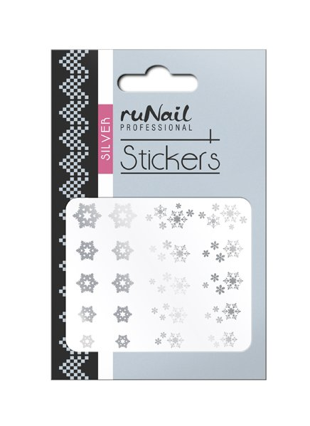 ruNail, 3D Наклейки для дизайна ногтей № 1469Наклейки для дизайна ногтей<br>Самоклеящиеся новогодние наклейки для дизайна ногтей. Снежинки серебряные.<br>