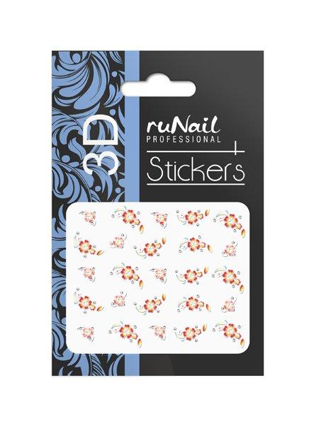 ruNail, 3D Наклейки для дизайна ногтей № 1624Наклейки для дизайна ногтей<br>Самоклеящиеся наклейки для дизайна ногтей. Цветы.<br>