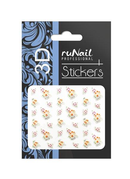 ruNail, 3D Наклейки для дизайна ногтей № 1627Наклейки для дизайна ногтей<br>Самоклеящиеся наклейки для дизайна ногтей. Цветы.<br>