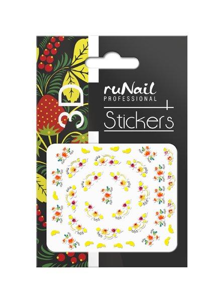ruNail, 3D Наклейки для дизайна ногтей № 1633Наклейки для дизайна ногтей<br>Самоклеящиеся наклейки для дизайна ногтей. Цветы.<br>