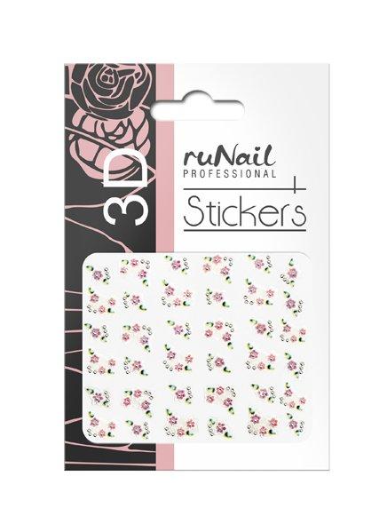 ruNail, 3D Наклейки для дизайна ногтей № 1638Наклейки для дизайна ногтей<br>Самоклеящиеся наклейки для дизайна ногтей. Цветы.<br>