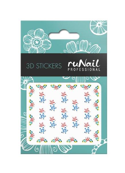 ruNail, 3D Наклейки для дизайна ногтей № 1640Наклейки для дизайна ногтей<br>Самоклеящиеся наклейки для дизайна ногтей. Цветы.<br>