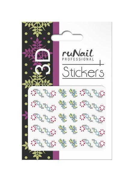 ruNail, 3D Наклейки для дизайна ногтей № 1641Наклейки для дизайна ногтей<br>Самоклеящиеся наклейки для дизайна ногтей. Цветы.<br>