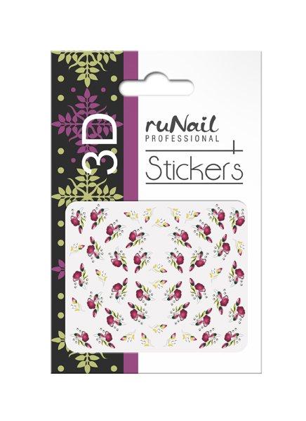 ruNail, 3D Наклейки для дизайна ногтей № 1644Наклейки для дизайна ногтей<br>Самоклеящиеся наклейки для дизайна ногтей. Цветы.<br>