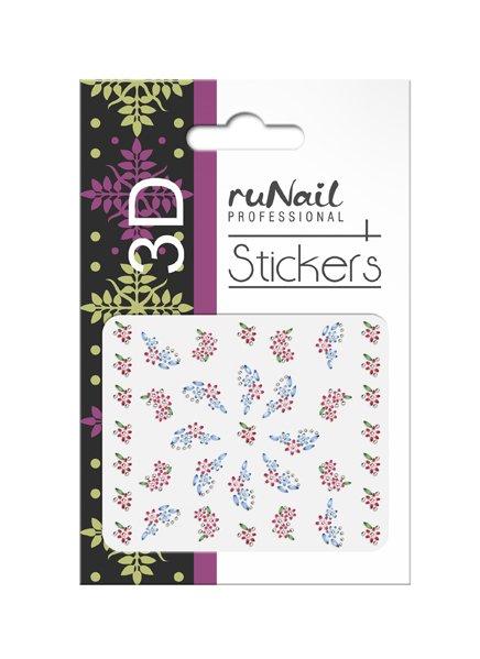 ruNail, 3D Наклейки для дизайна ногтей № 1646Наклейки для дизайна ногтей<br>Самоклеящиеся наклейки для дизайна ногтей. Цветы.<br>