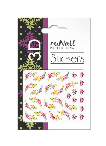 ruNail, 3D Наклейки для дизайна ногтей № 1648Наклейки для дизайна ногтей<br>Самоклеящиеся наклейки для дизайна ногтей. Цветы.<br>