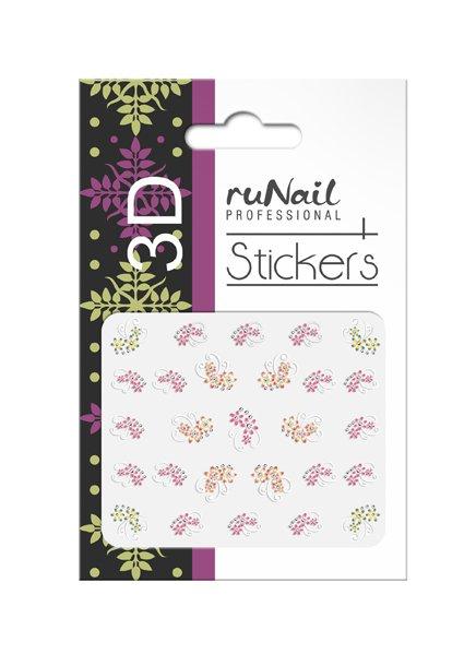 ruNail, 3D Наклейки для дизайна ногтей № 1649Наклейки для дизайна ногтей<br>Самоклеящиеся наклейки для дизайна ногтей. Цветы.<br>