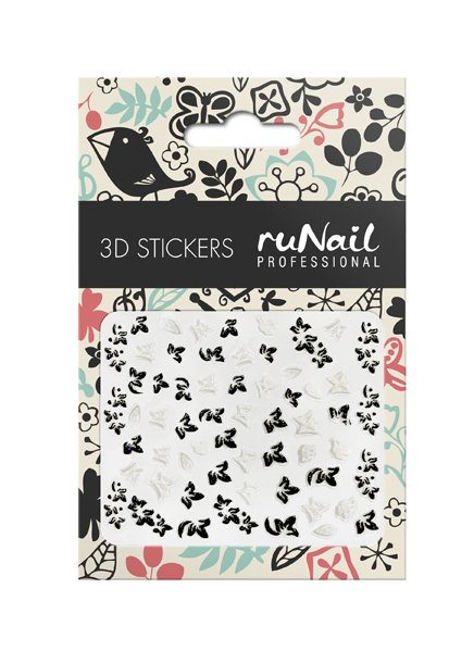 ruNail, 3D Наклейки для дизайна ногтей № 1651Наклейки для дизайна ногтей<br>Самоклеящиеся наклейки для дизайна ногтей. Бабочки.<br>