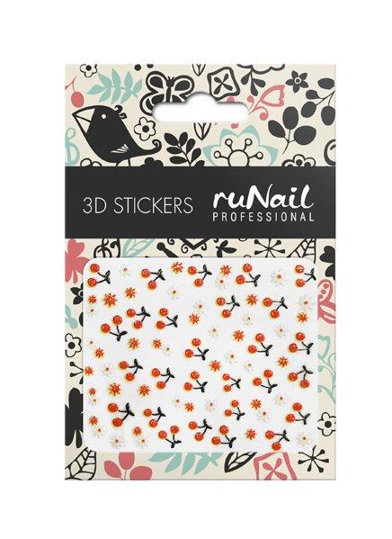 ruNail, 3D Наклейки для дизайна ногтей № 1653Наклейки для дизайна ногтей<br>Самоклеящиеся наклейки для дизайна ногтей. Ягоды и цветы.<br>