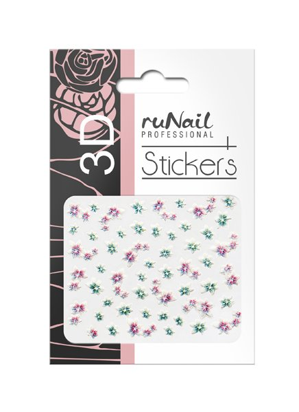 ruNail, 3D Наклейки для дизайна ногтей № 1656Наклейки для дизайна ногтей<br>Самоклеящиеся наклейки для дизайна ногтей. Цветы.<br>