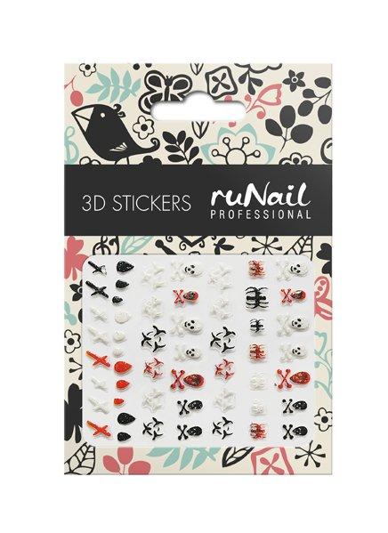 ruNail, 3D Наклейки для дизайна ногтей № 1657Наклейки для дизайна ногтей<br>Самоклеящиеся наклейки для дизайна ногтей. Черепа.<br>