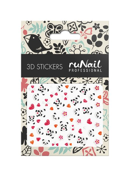 ruNail, 3D Наклейки для дизайна ногтей № 1658Наклейки для дизайна ногтей<br>Самоклеящиеся наклейки для дизайна ногтей. Цветы и панды.<br>