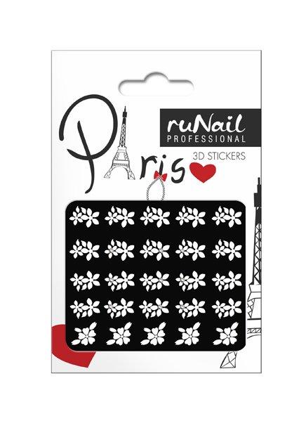 ruNail, 3D Наклейки для дизайна ногтей № 1661Наклейки для дизайна ногтей<br>Самоклеящиеся наклейки для дизайна ногтей. Белые цветы.<br>