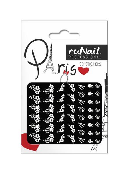 ruNail, 3D Наклейки для дизайна ногтей № 1663Наклейки для дизайна ногтей<br>Самоклеящиеся наклейки для дизайна ногтей. Белые цветы.<br>