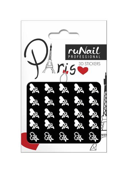 ruNail, 3D Наклейки для дизайна ногтей № 1664Наклейки для дизайна ногтей<br>Самоклеящиеся наклейки для дизайна ногтей. Белые цветы и сердечки.<br>